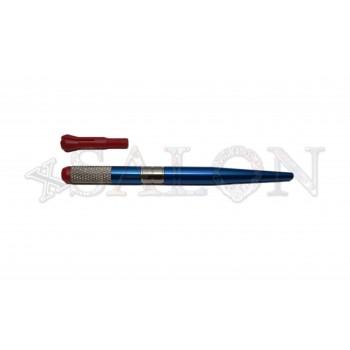 Ручка для микроблейдинга алюминиевая синяя с пластиковым зажимом MB0503