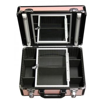 Кейс с четырьмя лотками и двумя осветителями, розовый