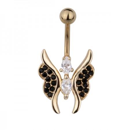 В пуп золотистая бабочка в чёрных стразах с туловищем из двух белых страз-капель 1,6х10 TBBU58